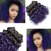 6pcs Afro Kinkys Human Hair Omber Brazilian Virgin Hair T1B/Purple Two Tone Bob Curly Weve 20cm Sew in Human Hair Extensions Brazilian Kinky Curly Hair