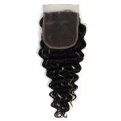 Brazilian Deep Wave 4X4 Lace Closure 100% Unprocessed Virgin Remy Human Hair No tangling No shedding