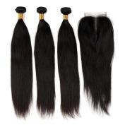 Brazilian Virgin Hair Straight Hair Bundles 3 Bundles With Lace Closure 4X4 100% Human Hair Extension Soft and Silky Natural Colour
