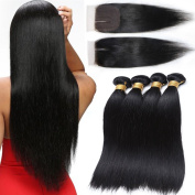 Cherie 7A Malaysian Straight Hair With Closure Virgin Remy Hair 3 Bundles with Lace Closure middle part Human hair weave Unprocessed Virgin Hair Extensions natural black colour