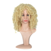 Cheap Top Afro Curly Hair Blonde Wig Medium Length Synthetic Hair Wig