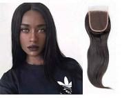 Aimeili Hair 4x 4 Straight Hair 3 part Lace Closure 130% Density 8A Brazilian Virgin Natural Black Human Bleached Knots Straight Hair Closure