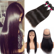 Pre Plucked 360 Lace Frontal Closure with Bundles 8A Brazilian Virgin Hair Straight with 360 Frontal Closure Human Hair Full Lace Band Frontal with Baby Hair