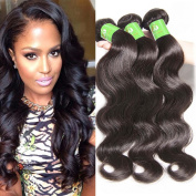 Body Wave Human Hair Extensions - Brazilian Remy 8A Body Wave 100% Unprocessed Human Bundles Virgin Hair Weaves/Weft, Natural Black ,14 16 46cm ,300g included