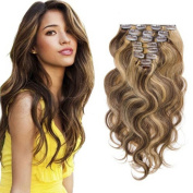 Blonde Mixed Brown Human Hair Extension Clip On #4/#27 Mixed Colour,120g 8 Pcs 18 Clips in Double Weft