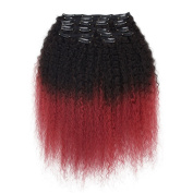 Veravicky Brazilian Ombre Colour Clip in Hair Extensions 8A Grade Afro Kinky Curly Hair 46cm 120G 10PCS/Lot