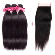 Ms Love Hair Brazilian Straight Virgin Hair 3 Bundles With Free Part Closure, Human Hair Bundles, 100% Unprocessed Hair Extensions, Natural Colour