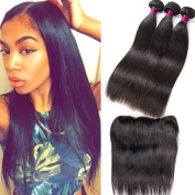 Ear to Ear Lace Frontal Closure with Peruvian Straight Hair 8A Human Hair Weave Bundles with Lace Frontal Closure Peruvian Virgin Hair Straight 3pcs with Closure