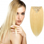 Blonde Human Hair Extension Clip On #24 Colour,120g 8 Pcs 18 Clips in Double Weft