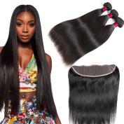 13x4 Ear to Ear Lace Frontal Closure with Human Hair Bundles 8A Brazilian Virgin Hair Straight with Lace Frontal Closure 3pcs wiith Closure
