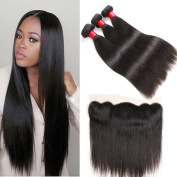 Ear to Ear Lace Frontal Closure with Bundles 8A Indian Virgin Hair Straight with Lace Frontal Closure Unprocessed Human Hair with Closure