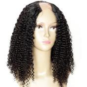 Addcolo Unprocessed 8A Peruvian Virgin Hair U Part Wigs Afro Kinky Curl 130% Density U Part Wig Human Hair Curly Middle Part 100% Real Human Hair Wig For Black Women