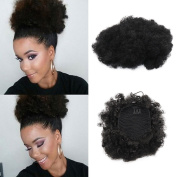 Synthetic Curly Hair Ponytail African American Short Afro Kinky Curly Wrap Synthetic Drawstring Puff Ponytail Hair Extensions Wig with Clips (#1)by VGTE Beauty