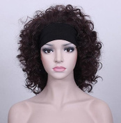 Short Synthetic Wigs For Black Women 3/4 Half Wigs with Headband Dark Brown Kinky Curly Hair Natural Hairline Heat Resistant Fibre Fashion Looking Replacement for African American Women with Gift