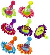 Sancto Neon Happy Birthday Mini Cone Hat Hair Clip 6 Colours Asstd.