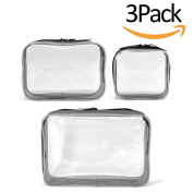 3 Pack Clear Cosmetics Makeup Bags, Waterproof Plastic Travel Toiletry Organiser Cases