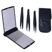 HDE Professional Tweezer Set with Compact Travel Cosmetic Mirror with 8 Bright LED Lights Tweezer Set Includes Straight, Slanted and Pointed Precision Tips for w/ Travel Case