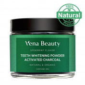 Natural Teeth Whitening Powder - Made with Organic Coconut Activated Charcoal and Food Grade Formula - Spearmint Flavour