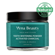Teeth Whitening Powder - Made with Coconut Activated Charcoal and Food Grade Formula - Fresh Mint Flavour
