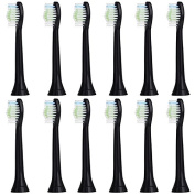 12 Soni-PRO Standard Black Replacement Sonic Toothbrush Heads for Sonicare DiamondClean Hx6063/64