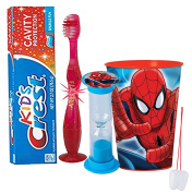 "Marvel Spider-Man Inspired Boys 4pc Bright Smile Oral Hygiene Set! Flashing Lights Toothbrush, Toothpaste, Brushing Timer & Mouthwash Rise Cup! Plus Bonus ""Remember to Brush"" Visual Aid!"