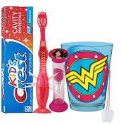 "DC Comics Wonder Woman Inspired 4pc Bright Smile Oral Hygiene Set! Flashing Lights Toothbrush, Toothpaste, Brushing Timer & Mouthwash Rise Cup! Plus Bonus ""Remember to Brush"" Visual Aid!"