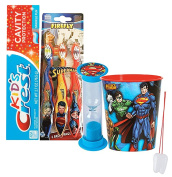 "DC Comics Boy's Superman 6pc. Bright Smile Oral Hygiene Set! 3pk Soft Manual Toothbrush, Toothpaste, Brushing Timer & Mouthwash Rinse Cup! Plus ""Remember To Brush"" Visual Aid!"