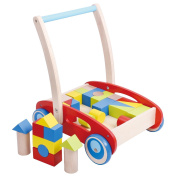 Pidoko Kids Block and Roll Cart - Wooden Push and Pull Toy Activity Baby Walker, Red - Toddler Learning Toys . , with Blocks
