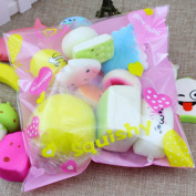 STRESS SPINNER 10/15/30 Pcs Mini Kawaii Squishies Slow Rising Toy Cake Bread Panda Multi Emoji with Phone Straps Kids Pretend Play Squishy Charms