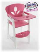Matty's Toy Stop 46cm Pink/White Wooden Doll High Chair with Lift-Up Tray & Floral Design