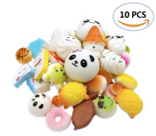R.FLOWER 10PCS Random Jumbo Soft Squishy Cream Scented Slow Rising Kawaii Simulation Bread Children Toy Medium Mini Squishies Cake/Panda/Bread/Buns Phone Straps