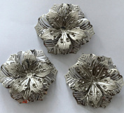 10 pcs Flower Silver Embellishment Scrapbooking Paper Metal Stamping Lace Floral