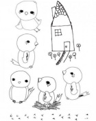 Stampington & Co Tweetful Journey Birds House Clearly Impressed Set Cling Rubber Stamp