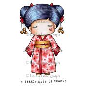 La-La Land Cling Stamps 11cm x 8.9cm -Paper Doll Marci -Kimono