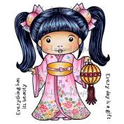 La-La Land Cling Stamps 11cm x 8.9cm -Kimono Marci With Lantern