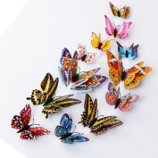 Outsta 12pcs Beautiful 3D Butterfly DIY Wall Sticker Refrigerator Stickers Home Decor