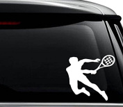 Tennis Player Decal Sticker For Use On Laptop, Helmet, Car, Truck, Motorcycle, Windows, Bumper, Wall, and Decor Size- [6 inch] / [15 cm] Wide / Colour- Gloss Black