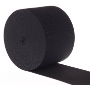 RERIVER 5.1cm Wide Black Heavy Knit Stretch ELASTIC 5 Yards