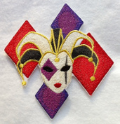 Custom and Unique Mardi Gras Festival Jester (Small 12cm x 11cm ) - Embroidered Iron on Patch
