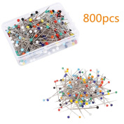 Kosause 800pcs Sewing Pins 38mm Multicolor Glass Ball Head Pins For Dressmaking Jewellery Components Flower Decoration With Transparent Cases