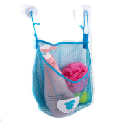 Lalang Baby Bath Time Toys Storage Mesh Bags Bathroom Organiser Hanging Suction Bag Blue