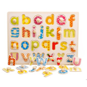 OneCreation Wooden Puzzle Cognitive Board Hand Grasping Board (Small Letter / Minuscule) 1-6 Years Old Puzzle Toy