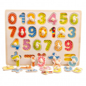 OneCreation Wooden Puzzle Cognitive Board Hand Grasping Board (Digit Matching) 1-6 Years Old Puzzle Toy