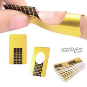 Ruier hui 100 X Golden Nail Art Tips Extension Forms Guide French Diy Tool Square Acrylic UV Gel
