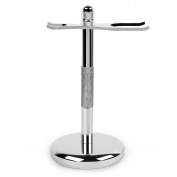 QShave Deluxe Chrome Razor and Brush Stand Holder Fit All Your Shaving Accessories