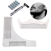 Zjchao Beard Comb, Razor Moustache Grooming Kit Professional Stainless Steel Trim Template Men's Whiskers Shaping Tool