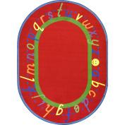 Joy Carpets Kid Essentials Early Childhood Oval AlphaScript Rug, Red, 3m x 4m