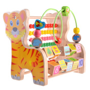 Multifunctional Early Children Educational Wooden Tiger Toy, Numbers and Arithmetic Learning, Abacus and Classic Bead Maze - Small Wood Roller Coaster Sliding for Babies, Toddlers Activity Cube