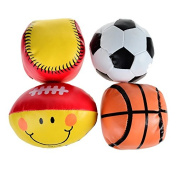 Soft Safe Football Rugby Basketball Softball Baby Toy Balls - 4pcs Pack