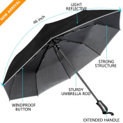 Umbrella, UROPHYLLA Unbreakable Travel Umbrella Windproof umbrella(60 MPH) Compact Automatic Open and Close Umbrella Lightweight 8 Ribs Golf Umbrellas One Handed Operation with Light Reflective-Black